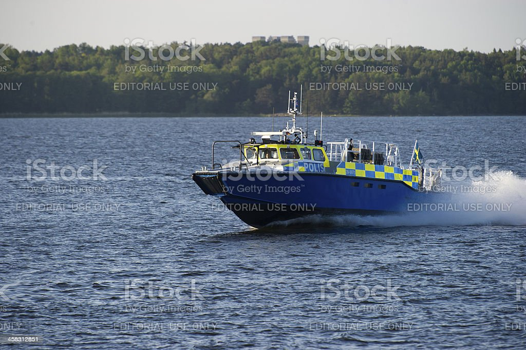 Swedish Police at sea stock photo