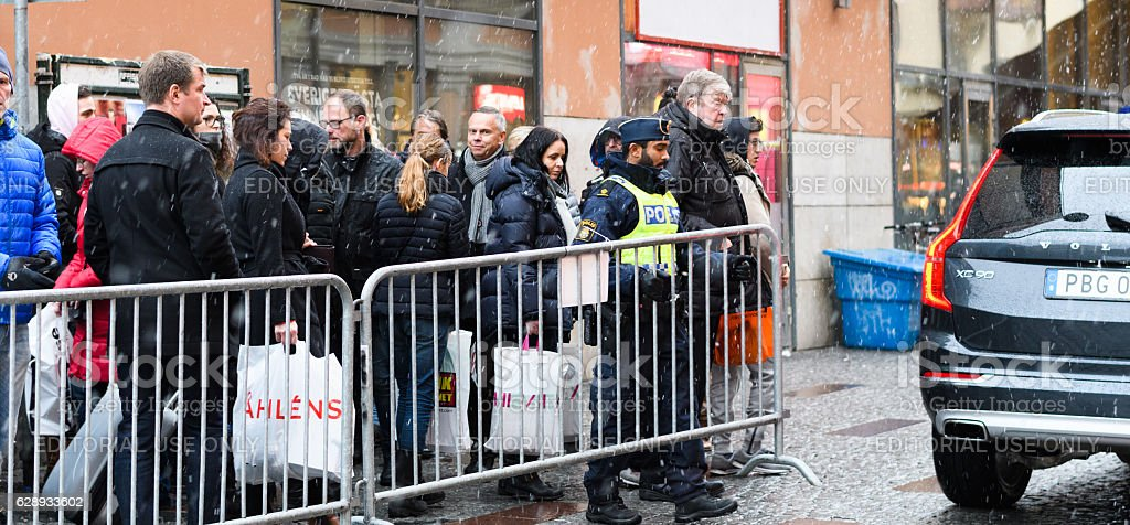 Swedish police closes gate to Stockholm Concert Hall, Hötorget stock photo