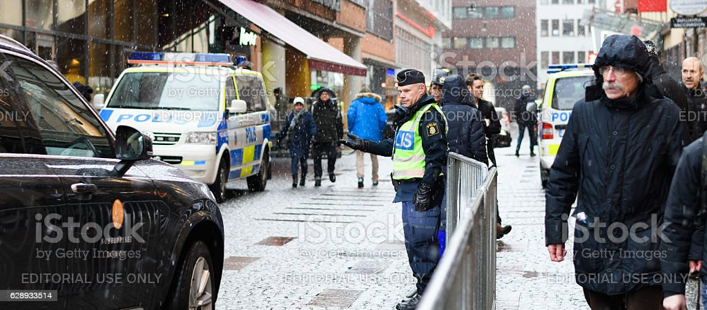Swedish police  let a car pass out stock photo