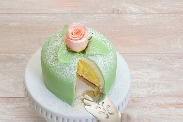 Swedish Princess Cake or Prinsesstårta stock photo