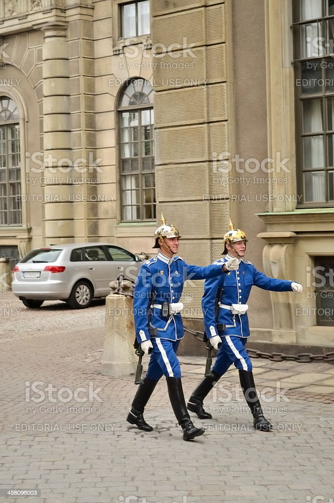 Swedish Royal Guard Marching royalty-free stock photo