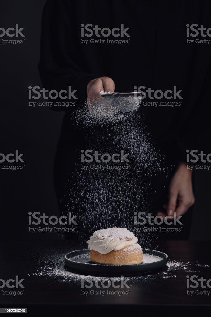 Swedish semla typical wheat bun with cream stock photo
