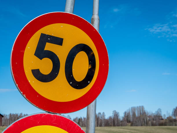 Swedish speed sign of 50 km/h. stock photo