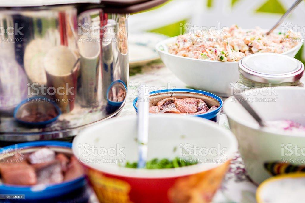 Swedish traditional summer food stock photo