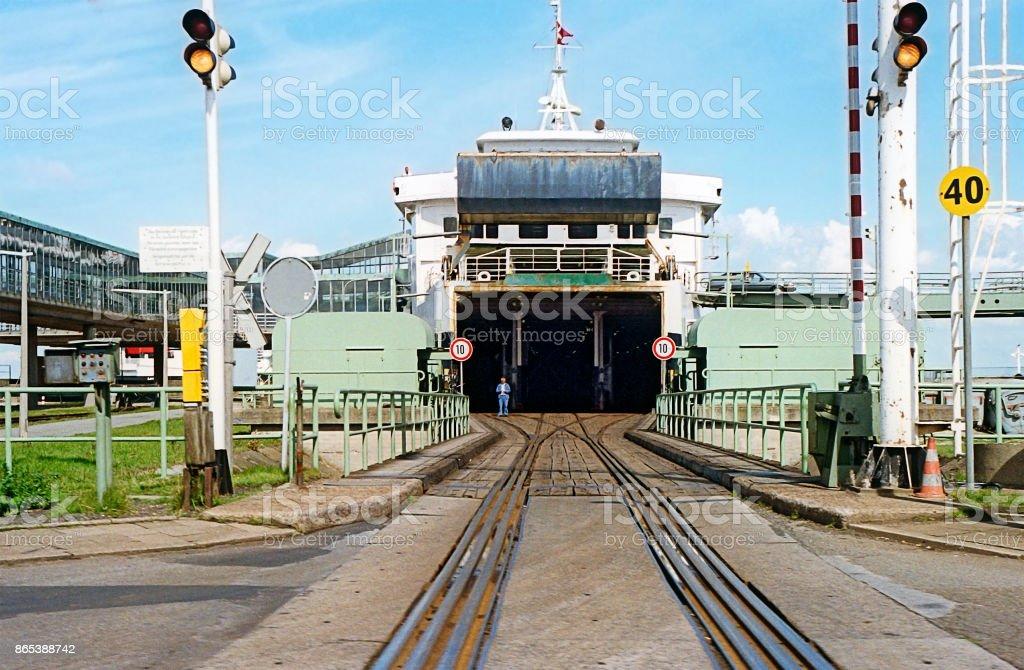 swedish train ferry Loading dock with a swedish train ferry 1980-1989 Stock Photo