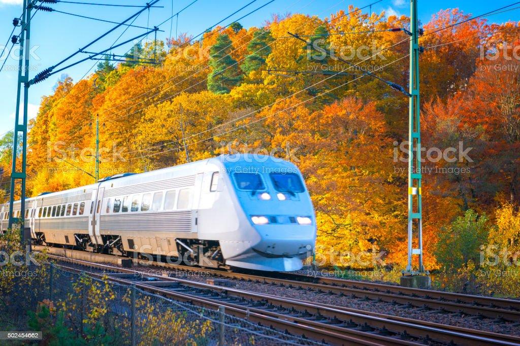 Swedish train passing in autumn landscape stock photo