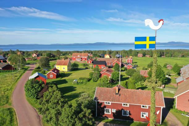 A swedish village in summer stock photo