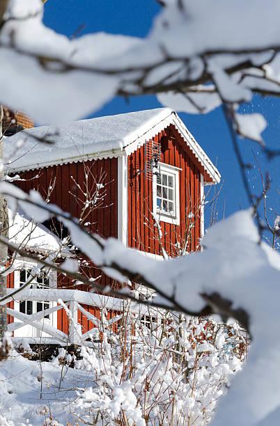 Swedish winter view stock photo