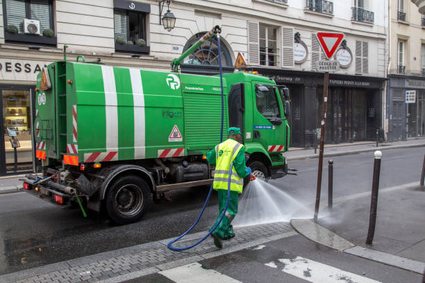 Sweeper Car in the streets of Paris stock photo