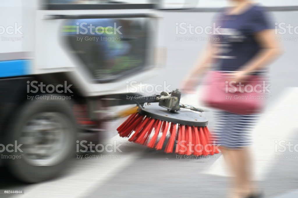 Sweeper in work stock photo