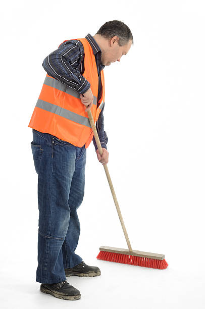 Sweeper Worker sweeping with besom street sweeper stock pictures, royalty-free photos & images