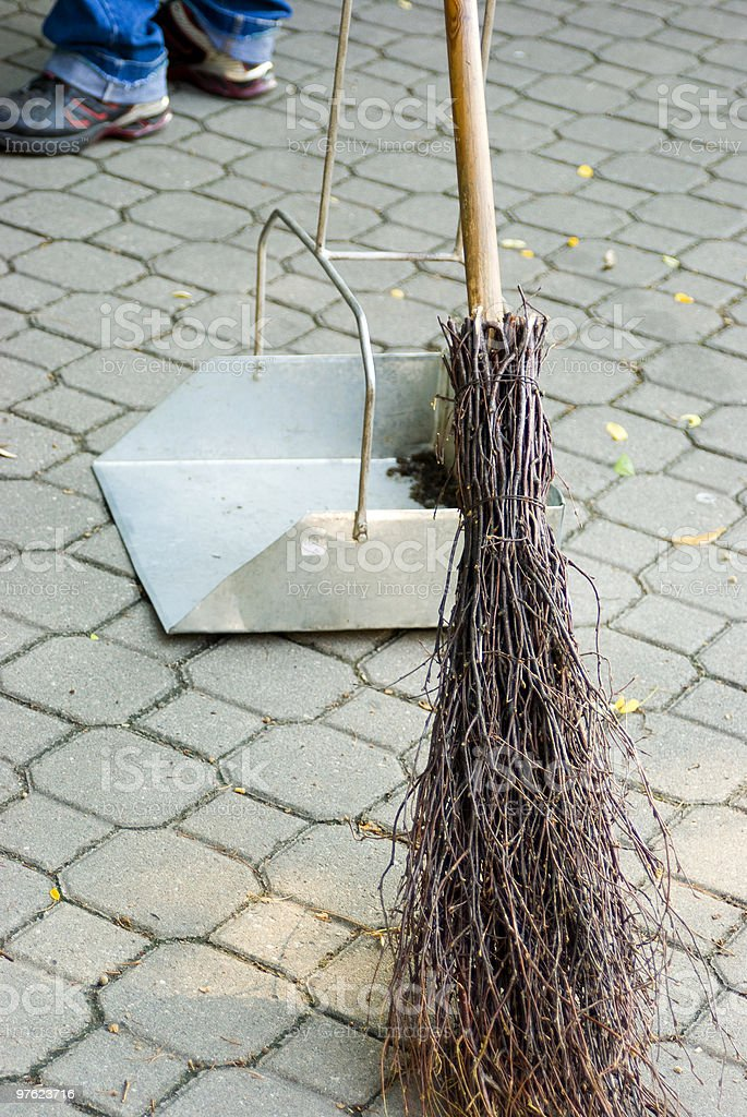 sweeper time in the city royalty-free stock photo