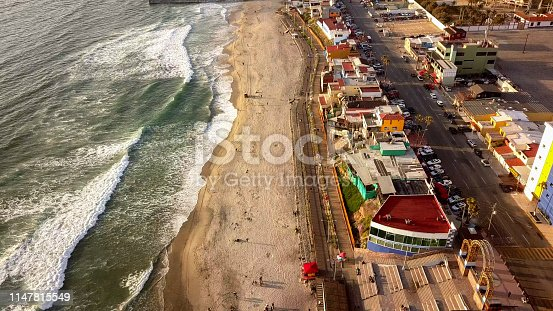 Aerial drone view of the Boardwalk, beach and the border wall between Tijuana, Mexico and the United States