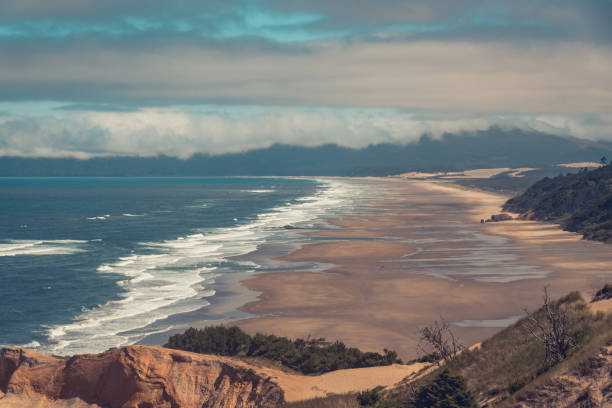 Sweeping landscape view of the Oregon Coast, Pacific Northwest stock photo