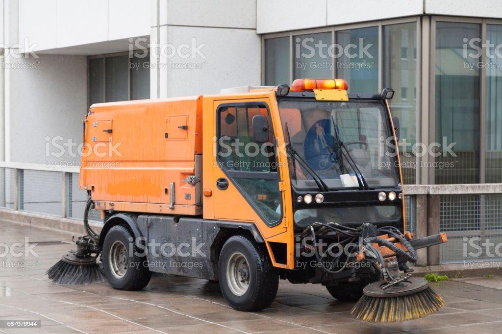 Sweeping machine stock photo