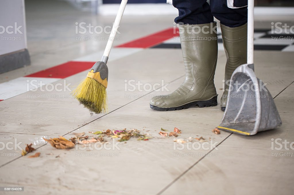 Sweeping up stock photo