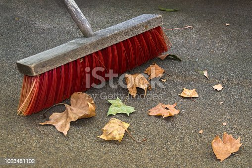 istock Sweeping Up the Autumn Leaves 1023481102