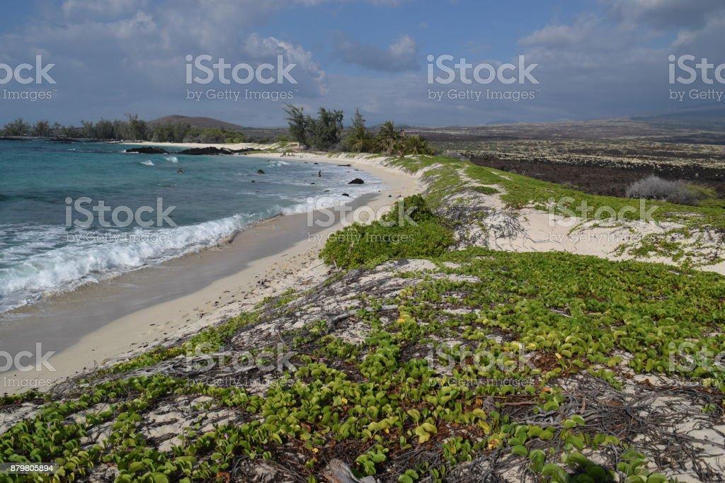 sweeping view of Makalawena white sand beach, Kailua-Kona, Big Island, Hawaii stock photo