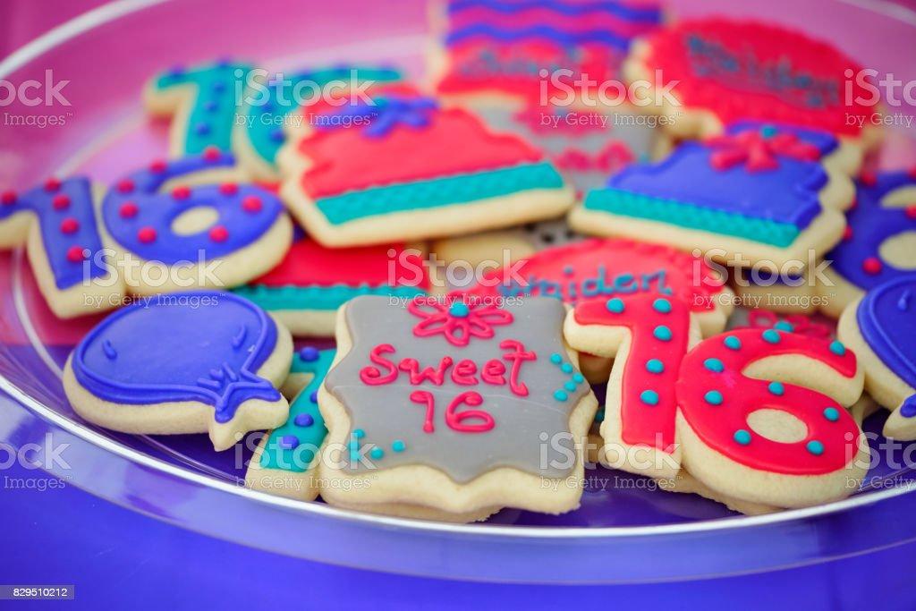 Cookies de Sweet 16 aniversário - foto de acervo
