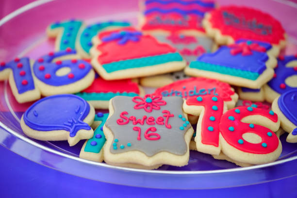 sweet 16 birthday cookies - number 16 stock photos and pictures