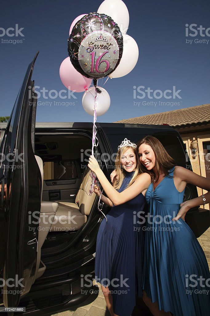 Sweet 16 Birthday Party Balloons and ride in Limo royalty-free stock photo