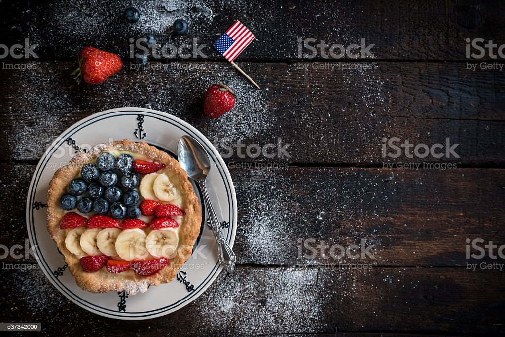 Sweet American pie with vanilla and berry fruits stock photo