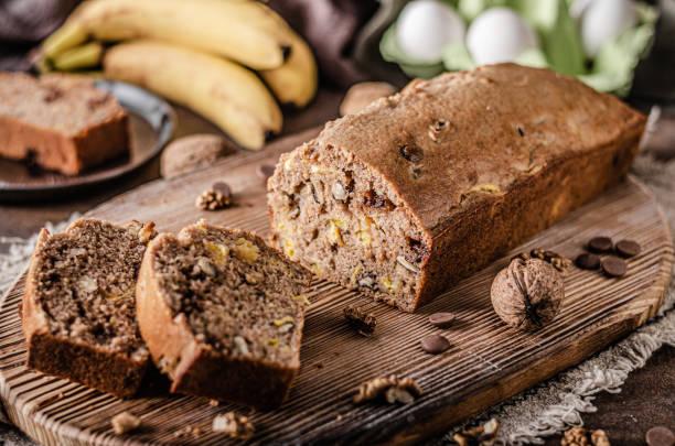 Sweet and heathy banana bread stock photo
