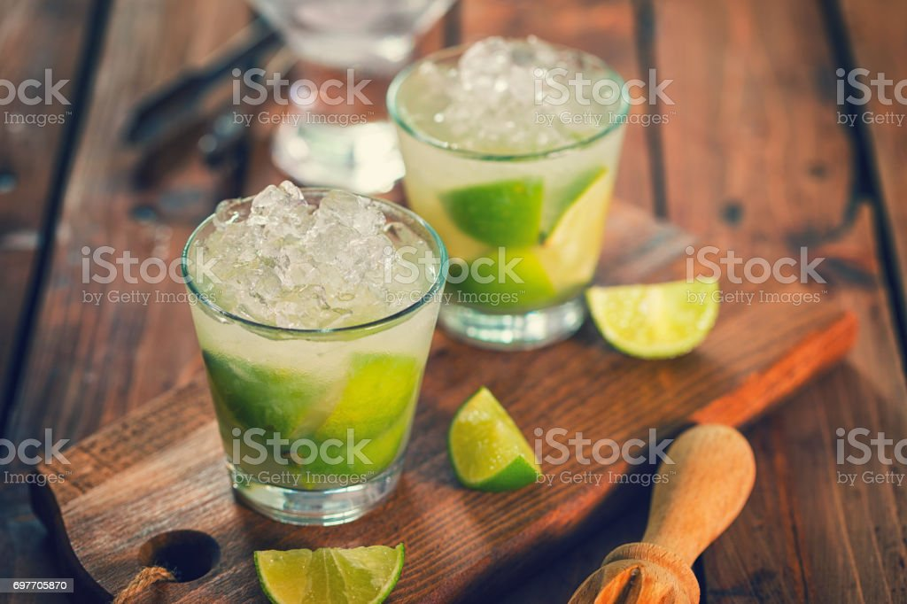 Sweet and Refreshing Drink Caipirinha Cocktail stock photo