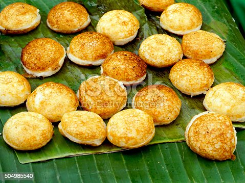 Sweet and Savory Grilled Coconut-Rice Hotcakes, Coconut Rice Cake, Asian dessert, Thai, Thailand, Luang Prabang, Laos