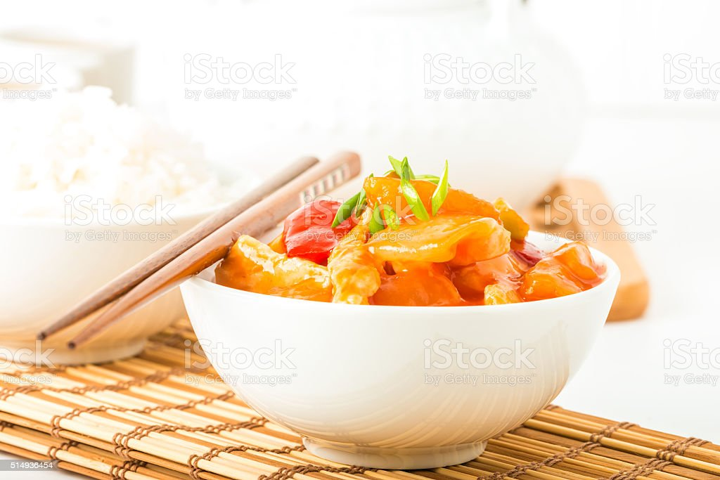 Sweet and Sour Chicken Closeup stock photo