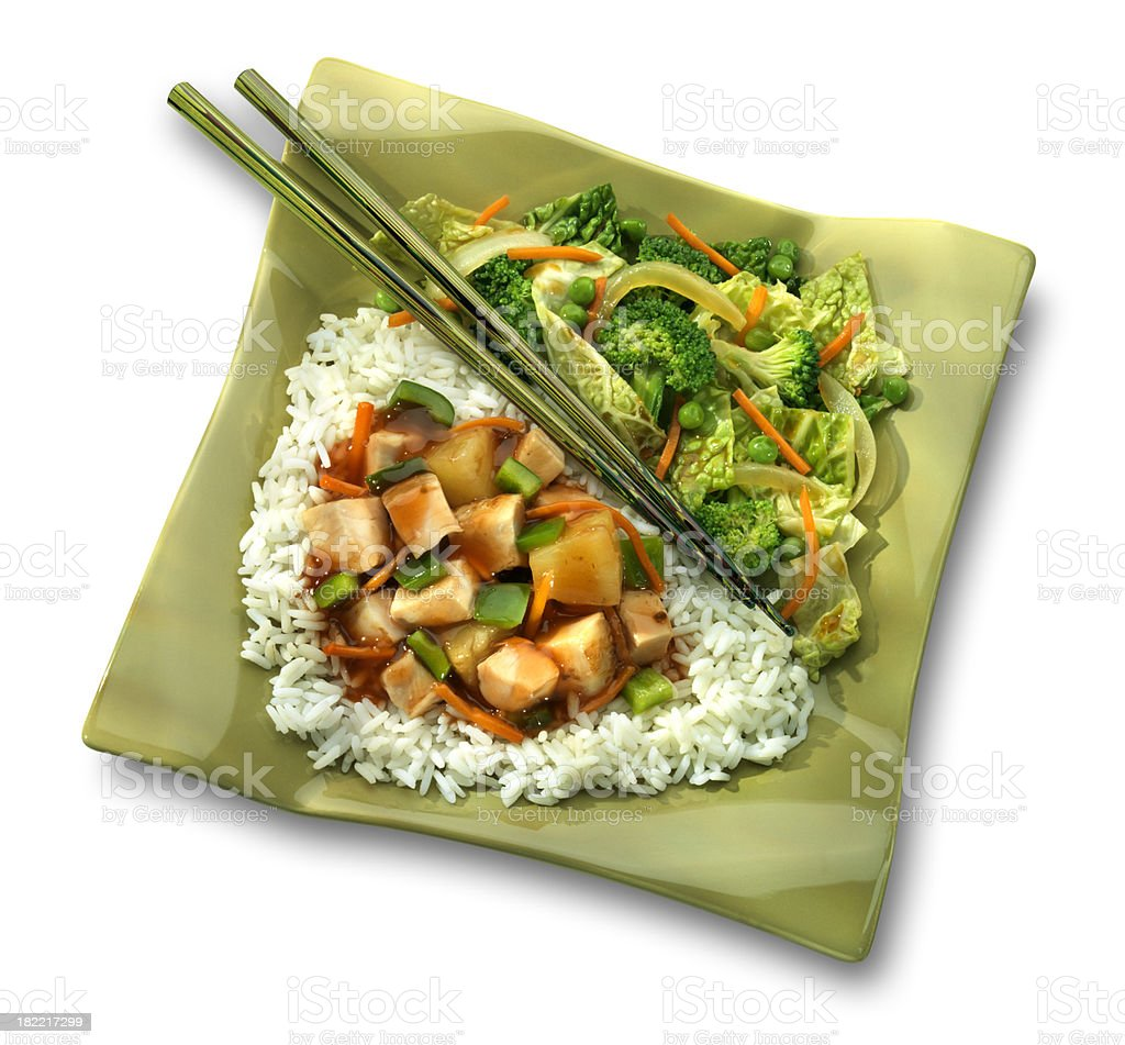 Sweet and Sour Chicken dinner, white background royalty-free stock photo