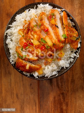 Sweet and Sour Chicken with Pineapple, Chilli Peppers and Parsley -Photographed on Hasselblad H3D2-39mb Camera
