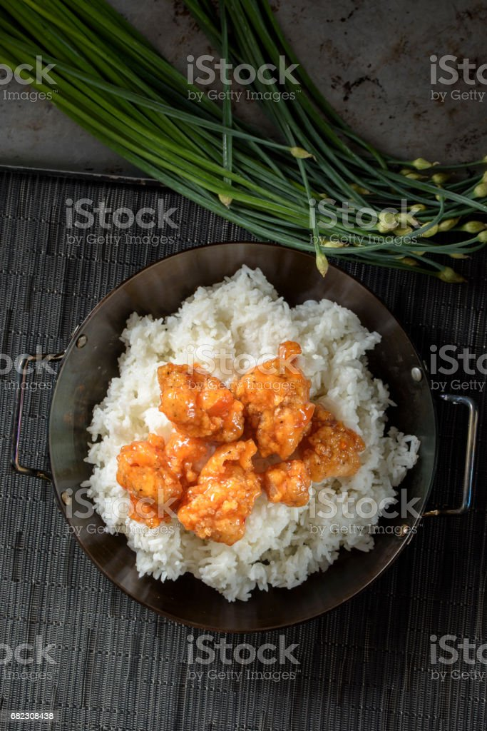 Sweet and Sour Pork over Rice stock photo
