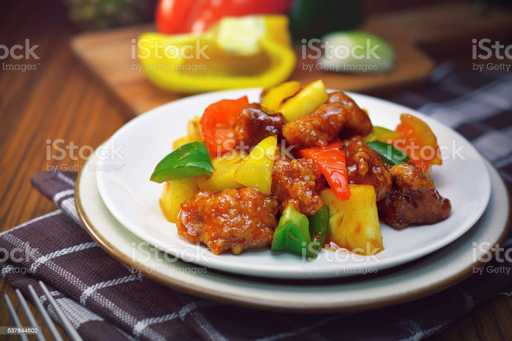 sweet and sour pork. stock photo