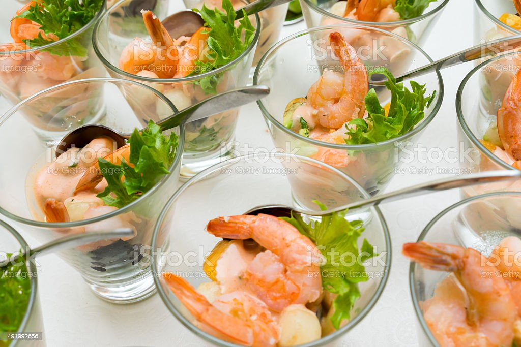 sweet and sour shrimp, prawn cocktail stock photo