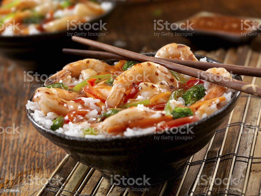 Sweet and Sour Shrimp Rice Bowl stock photo