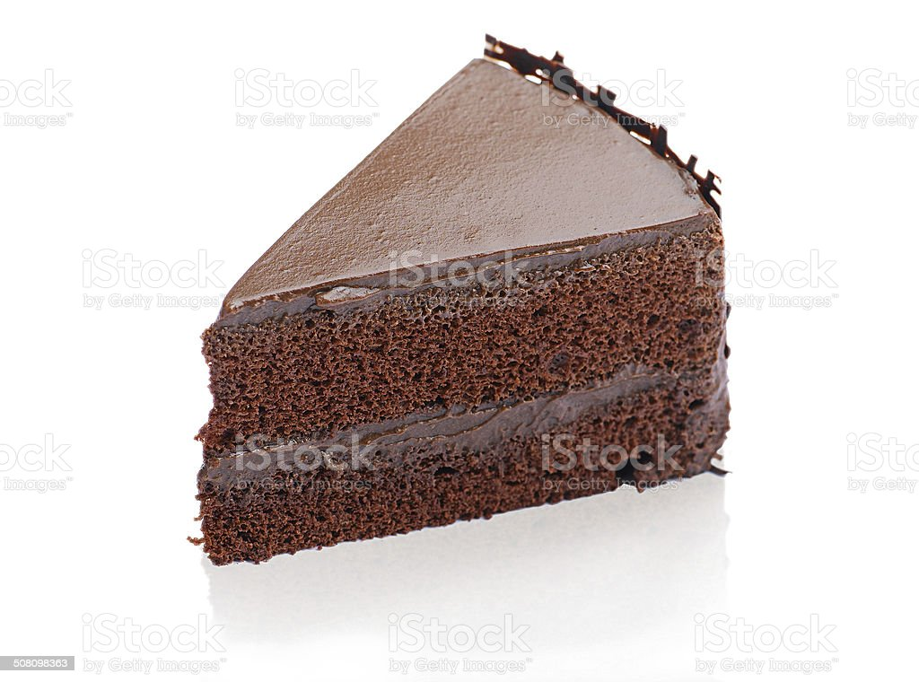 Sweet and tasty chocolate cake isolated stock photo