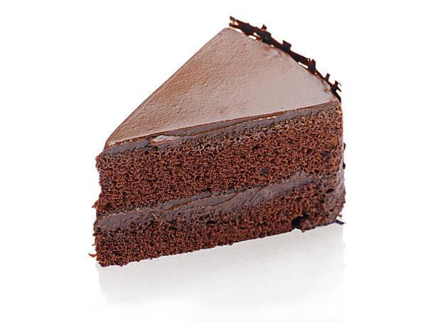Sweet and tasty chocolate cake isolated stock photo