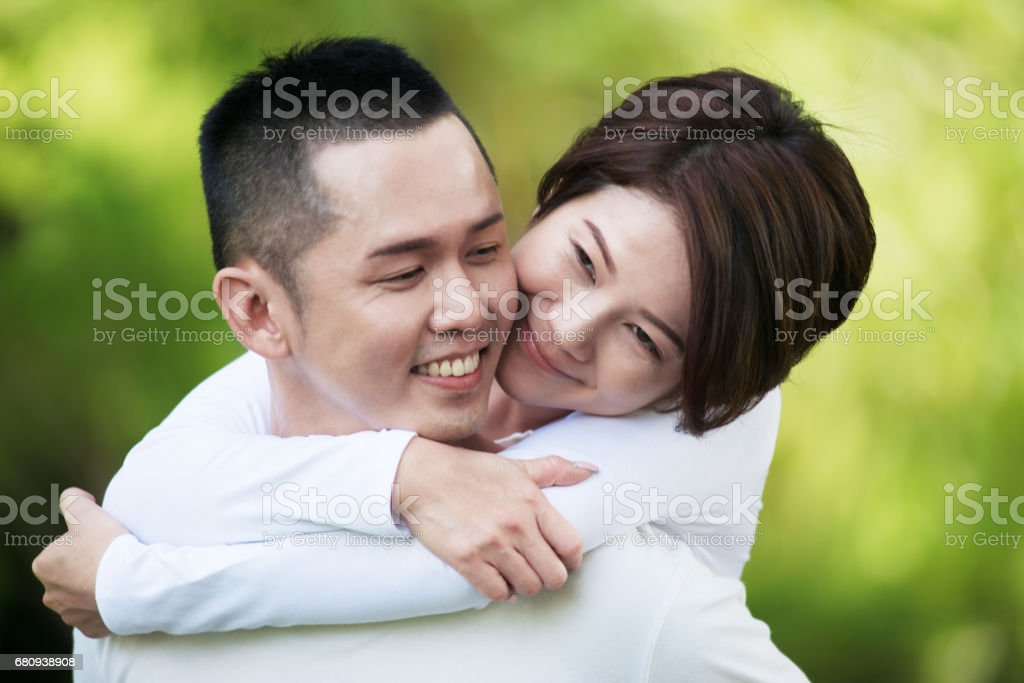 Sweet Asian Couple at the Park royalty-free stock photo