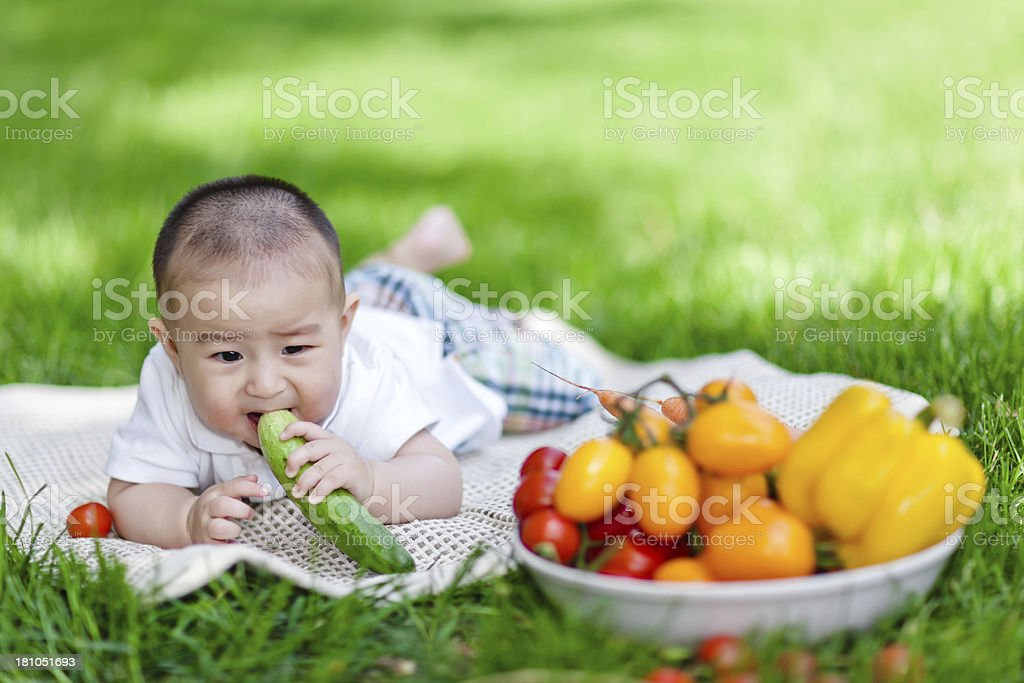 Sweet Asian little baby boy eating fruit on lawn royalty-free stock photo