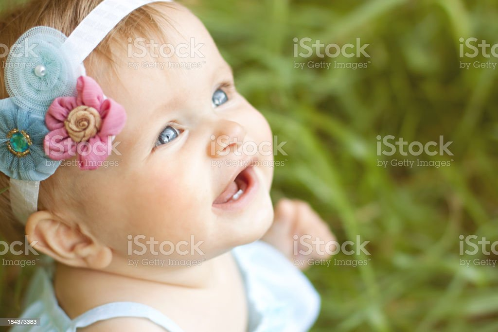 Sweet Baby Girl with flower headband royalty-free stock photo
