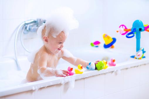 Sweet baby in bath