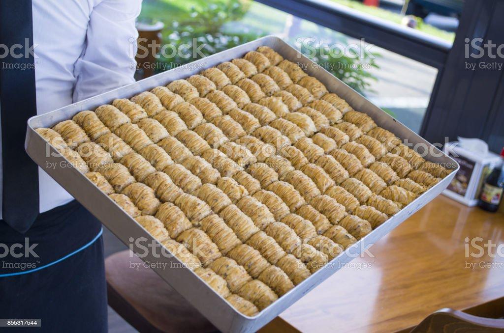 sweet baklava dessert stock photo