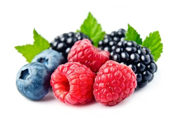 sweet berries mix - berry stock photos and pictures