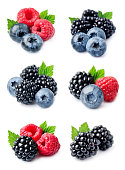 Set of sweeet berries of blueberries, raspberries and blackberries on white backgrounds.Collection of berry.