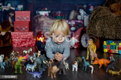 istock Sweet blonde toddler boy, playing with plastic animals and dinosaurs at home 1194326691