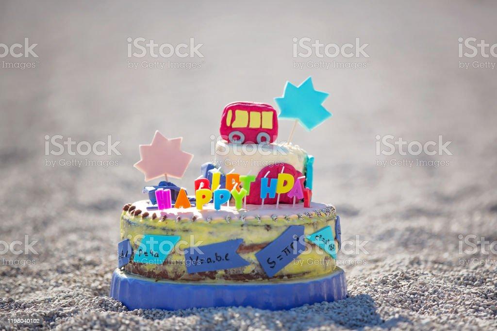 Super Sweet Boys Celebrating On The Beach Birthday With Car Theme Cake Funny Birthday Cards Online Overcheapnameinfo