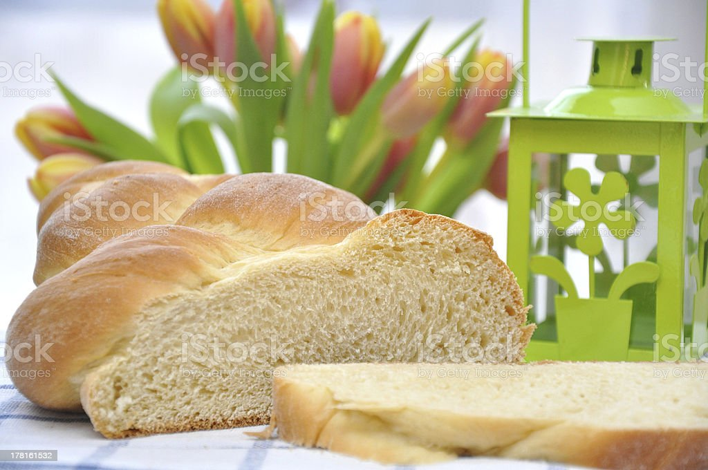 Sweet braided easter bread royalty-free stock photo