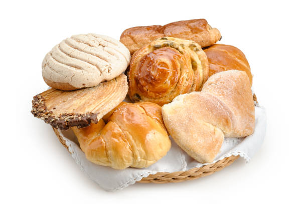 Sweet bread assorted traditional Mexican bakery isolated Sweet bread assorted traditional Mexican bakery isolated on white background sweet bun stock pictures, royalty-free photos & images