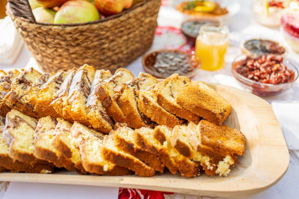 Sweet bread homemade and baked traditionaly in Eastern Europe for holidays and easter stock photo